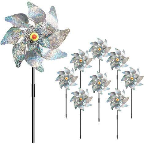 Roues réfléchissantes, paquet de 8 roues à goupilles étincelantes supplémentaires pour la décoration de jardin, dispositifs anti-oiseaux dissuasifs pour effrayer les oiseaux loin de la cour Patio Garden Farm