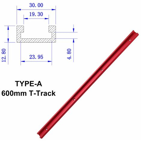 Rouge 300mm / 400mm / 500mm / 600mm alliage d'aluminium onglet T-Track curseur écrou curseur bricolage outil de travail du bois (TYPE A 600mm T piste curseur)