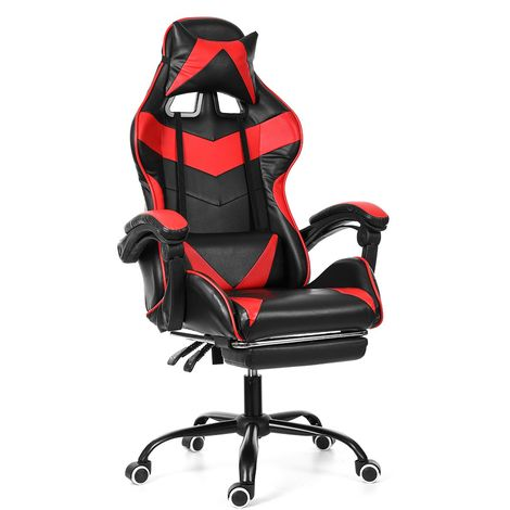 Rouge Chaise Fauteuil de Bureau Gaming Gamer Pivotant Racing-Inclinable 150° Sasicare