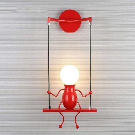 Rouge Simple Poupée De Mode Balançoire Enfants Applique Murale Moderne Salon Chambre Créative De Chevet Mur Lumière Vacances/Cadeau De Mariage