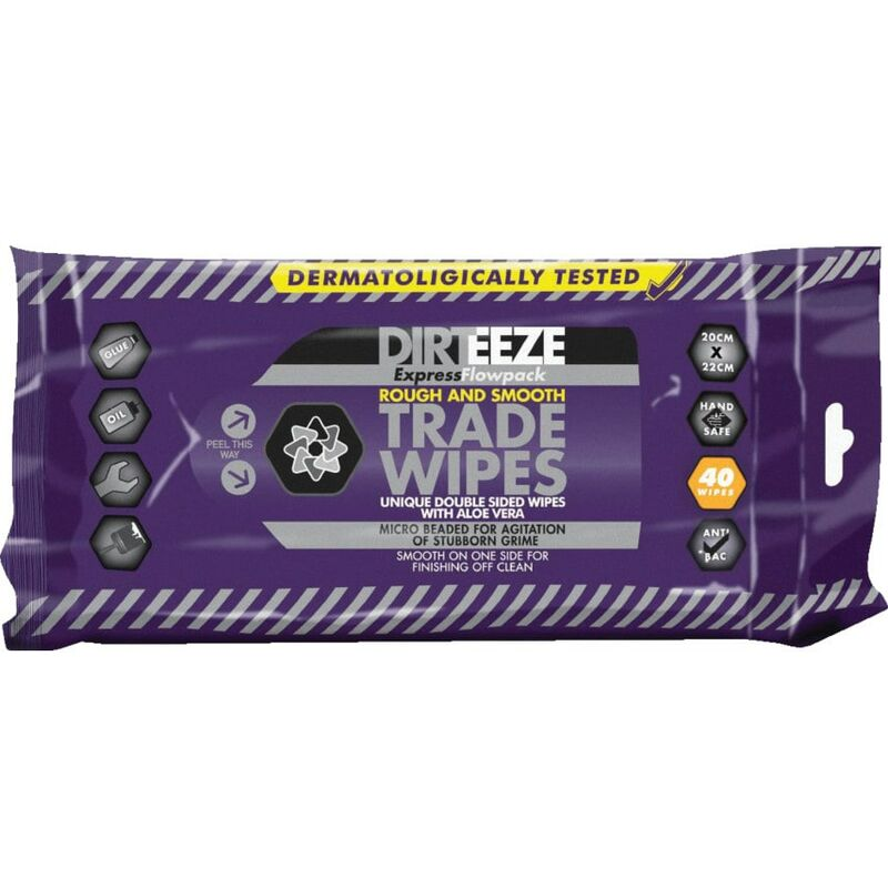 Image of Flowpack Rough & Smooth Trade Wipes, Pack Qty 40 - Dirteeze