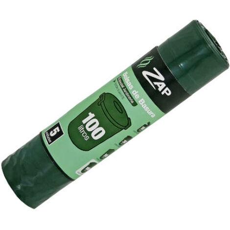 Rouleau 5 unités sac poubelle vert spécial jardinage 100 litres zap