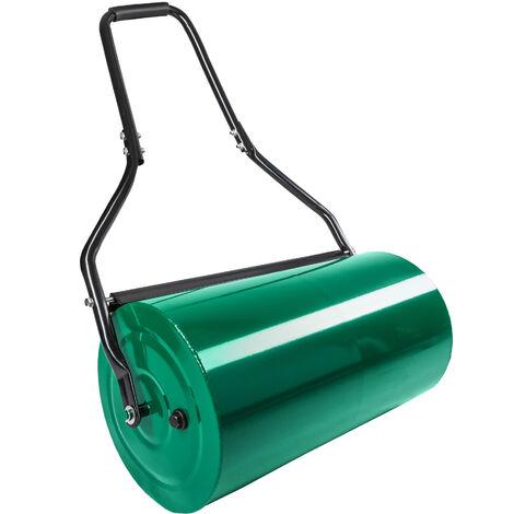 Rouleau à gazon 60 cm avec Brancard en Acier - Remplissage Eau ou Sable 48 L Vert