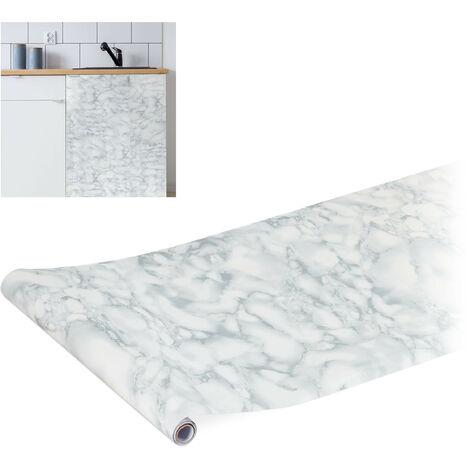 rouleau adhésif mural, DIY, meubles & cuisine, autocollant, aspect marbre, PVC, 45 x 200 cm, blanc