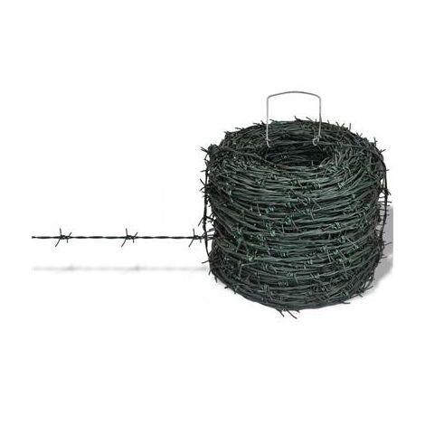 Rouleau de fil barbelé clôture vert 100m