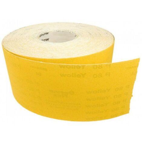 Rouleau de papier de verre, rouleau jaune 50m p180