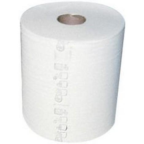 Rouleau d'essuie-mains pour distributeur, Modèle : 1 Épais. :, Feuilles par rouleau 790, Couleur blanc naturel (par 6)