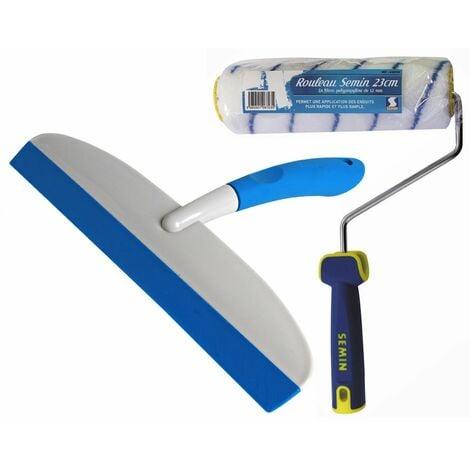 Rouleau pour application d'enduit ou de peinture Semin - 23 cm et une raclette à lisser Semin - 30 cm