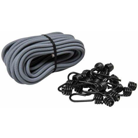 Rouleau tendeur élastique 10 m, Ø 8mm et 20 crochets