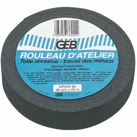 Rouleau toile abrasive grain 80 qualité Waterproof - 38mm x 25ml