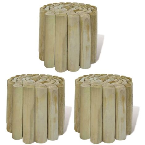 Rouleaux de bordure de pelouse 3 pcs Bois 250x20 cm