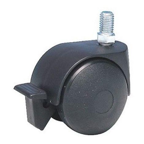 Roulette à frein diamètre 40 noir à tige filetée 8x15