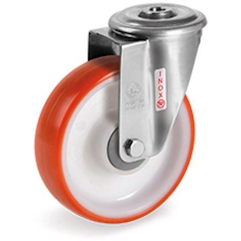 Roulette à oeil INOX pivotante diamètre 100 mm roue polyuréthane rouge roulement à billes - 200 Kg
