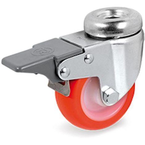 Roulette à oeil pivotante à frein diamètre 40 mm roue polyuréthane rouge - 40 Kg