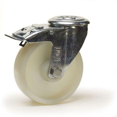 Roulette à oeil pivotante à frein diamètre 80 mm roue polyamide blanc - 150 Kg