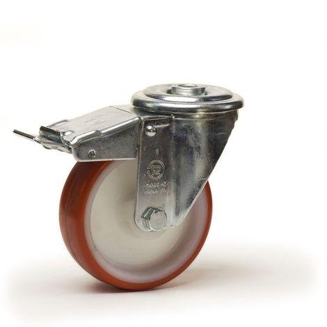 Roulette à oeil pivotante à frein diamètre 80 mm roue polyuréthane rouge - 120 Kg