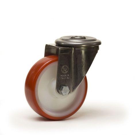 Roulette à oeil pivotante diamètre 100 mm roue polyuréthane rouge roulements à billes - 200 Kg