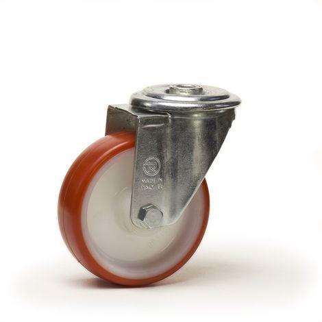 Roulette à oeil pivotante diamètre 150 mm roue polyuréthane rouge - 220 Kg