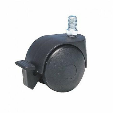 Roulette d'ameublement pivotante à tige filetée, à frein Twiny Ø50mm GUITEL