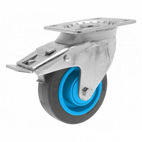 Roulette de manutention pivotante à platine, à frein Gemroll Resilex Ø100mm GUITEL