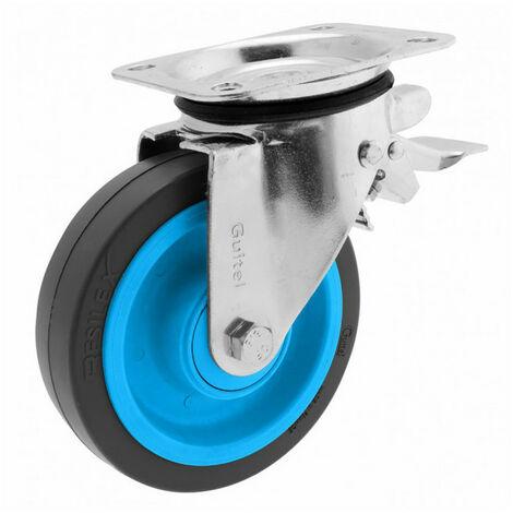 Roulette de manutention pivotante à platine, à frein Maxiroll Resilex Ø160mm GUITEL