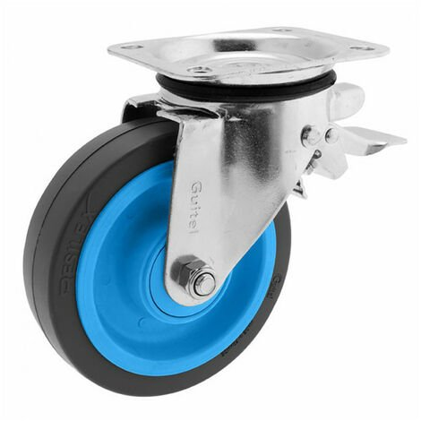 Roulette de manutention pivotante à platine, à frein Maxiroll Resilex Ø200mm GUITEL