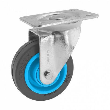Roulette de manutention pivotante à platine Gemroll Resilex Ø100mm GUITEL