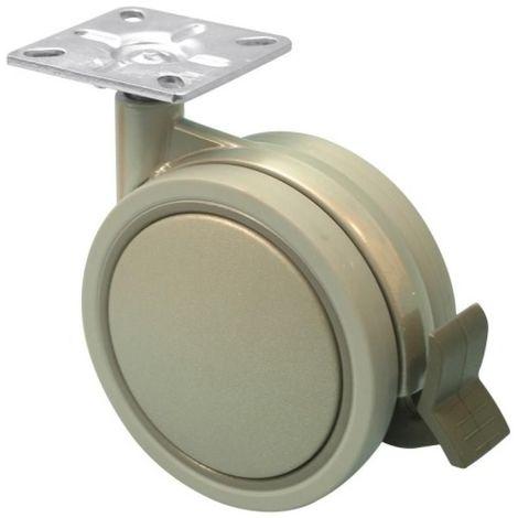 Roulette de meuble Jemedesign double galet gris diamètre 75mm hauteur 103mm charge 70kg avec frein avec platine 42x42mm