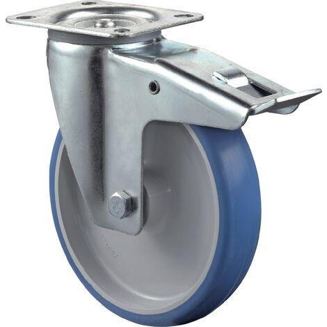 Roulette de renvoi Ø de la roue 125 mm Capacité de charge 1 avec blocage total polyuréthane Longueur du plateau104xl80 mm Couleur du