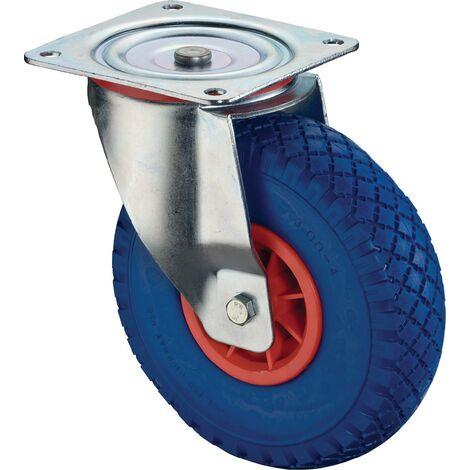 Roulette de renvoi Ø de la roue 400 mm Capacité de charge 2 avec plaque de fixation Corps de roue pl polyuréthane bleu