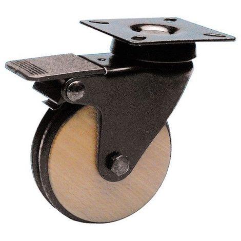 Roulette design pivotante frein noir diamètre 75 roue bois bandage non marquant noir