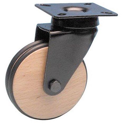 """main image of """"Roulette design pivotante noir diamètre 75 roue bois bandage non marquant noir"""""""