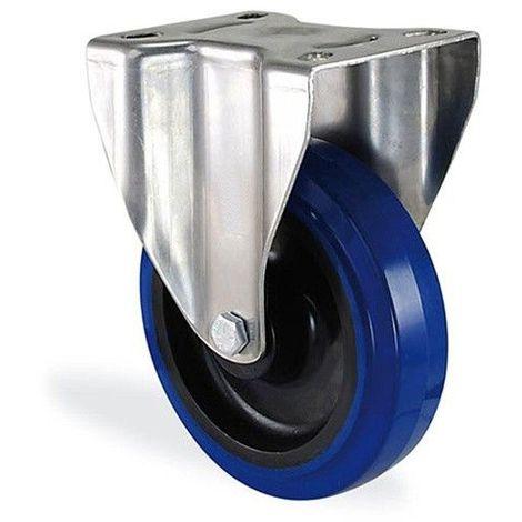 Roulette fixe caoutchouc bleu elastique diamètre 100mm charge 150kg