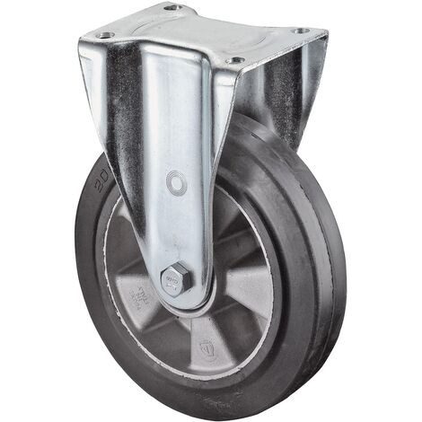 Roulette fixe de charge lourde Ø de la roue 125 mm Capacité de charge 2 caoutchouc 105 mm 85 mm