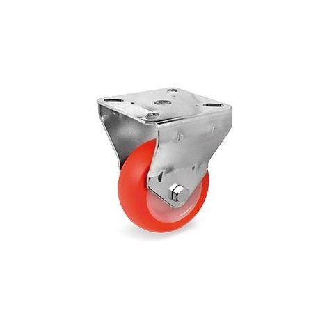 Roulette fixe diamètre 60 mm roue polyuréthane rouge - 70 Kg