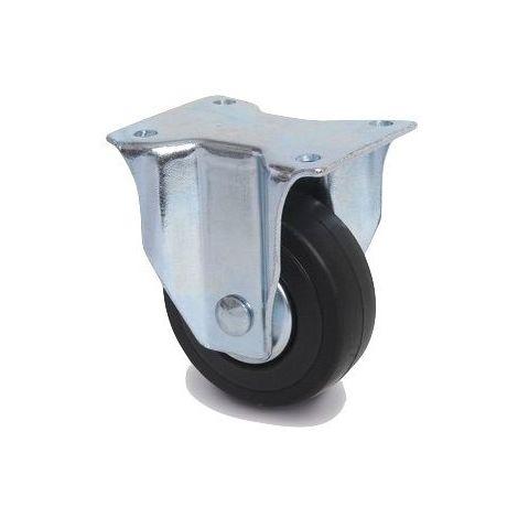 Roulette fixe diamètre 65 mm caoutchouc noir - 40 Kg