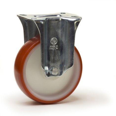 Roulette fixe diamètre 80 mm roue polyuréthane rouge - 120 Kg