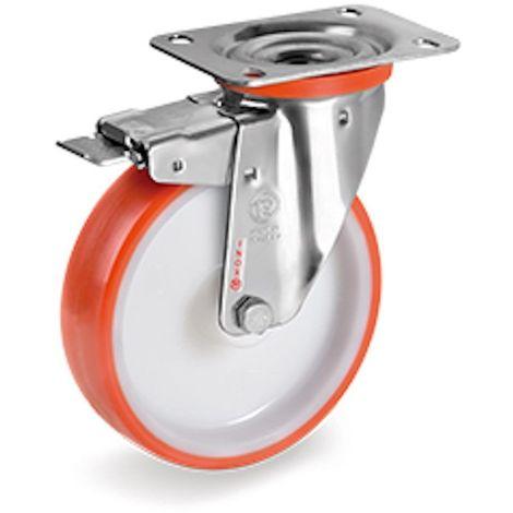Roulette INOX pivotante à frein diamètre 80 mm roue polyuréthane rouge - 120 Kg