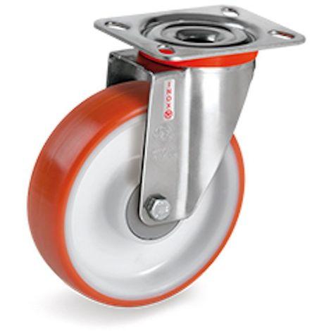 Roulette INOX pivotante diamètre 100 mm roue polyuréthane rouge moyeu à billes - 200 Kg
