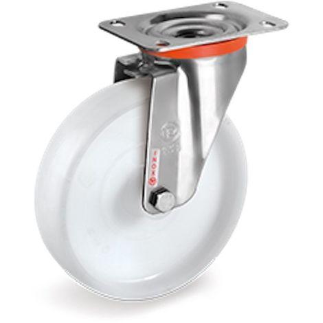 Roulette INOX pivotante diamètre 50 mm roue polyamide blanc - 50 Kg