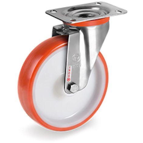 Roulette INOX pivotante diamètre 80 mm roue polyuréthane rouge - 120 Kg