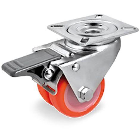 Roulette jumelée pivotante à frein Ø50 fixation platine, polyurethane injecté