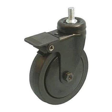 Roulette noir pivotante à frein M10 diamètre 75 caoutchouc noir non marquant