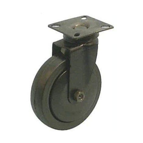 Roulette noir pivotante diamètre 50 caoutchouc noir non marquant