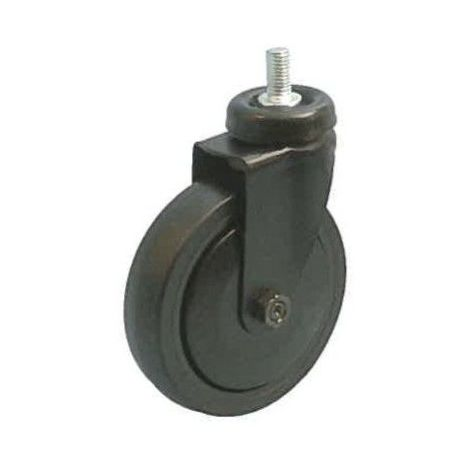 Roulette noir pivotante M10 diamètre 50 caoutchouc noir non marquant