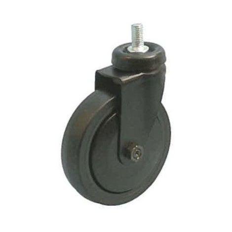 Roulette noir pivotante M10 diamètre 75 caoutchouc noir non marquant