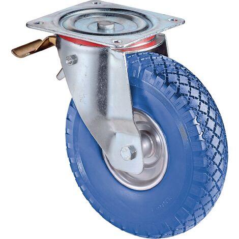 Roulette orientable avec frein Ø de la roue 260 mm Capacité de charge 1 avec plaque de fixation palier à rouleau caoutchouc bleu