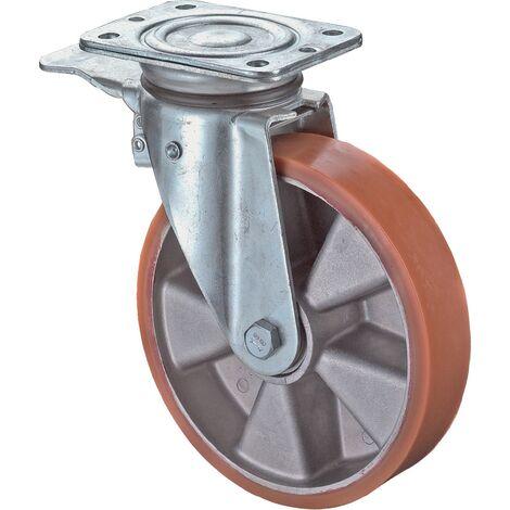 Roulette orientable avec frein LB520.B90.125 avec blocage Ø de la roue 125 mm Capacité de charge 3 avec plaque de fixation roulement à bill bandage en polyuréthane coulé