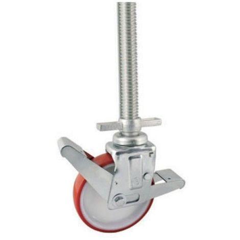 Roulette pieds d\'échafaudage de niveau roue polyuréthane rouge diamètre 200 mm - 400 Kg