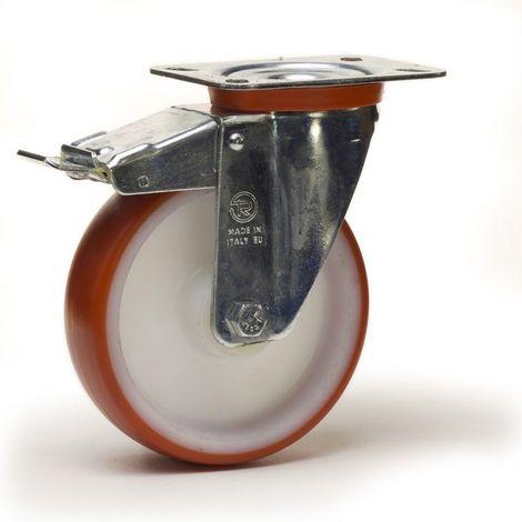 Roulette pivotante à frein diamètre 100 mm roue polyuréthane rouge roulement à billes - 200 Kg